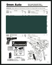 BROWNING 9mm Luger Automatic Pistol Schematic Exploded View Parts List AD