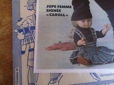 """T8 PATRON POUPEE EMILIE  MODES ET TRAVAUX""""""""  JUPE PLISSEE  SEPTEMBRE 1989"""