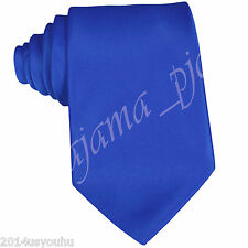 """SATIN SOLID ROYAL BLUE SELF TIE CLASSIC 3.5"""" NECKTIE FORMAL PARTY WEDDING PROM"""