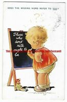 Artist D Tempest 'Does the Missing Word Refer to You?' Vintage Postcard 31.1
