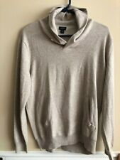 J CREW Womens Size M Oatmeal Cotton Sweater with button collar - EUC