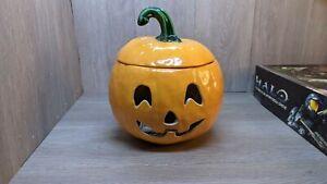 Vintage Ceramic Halloween Pumpkin Jack O Lantern Light Up Electric 1970's