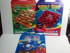 3 Magnetic Travel Board Games Checkers Hangman Tic Tac Toe Snakes & Ladders NEW