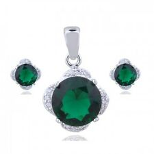 18K WHITE GP & CZ & AUSTRIAN CRYSTAL EMERALD GREEN NECKLACE & EARRING SET