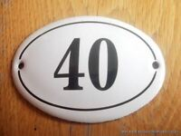 SMALL ANTIQUE STYLE ENAMEL DOOR NUMBER 40 SIGN PLAQUE HOUSE NUMBER SIGN