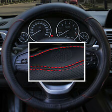 1Pcs 38cm Cars Auto Pickup Steering Wheel Cover PU Leather Embossed Black w/ Red