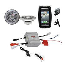 "Boat Marine Grade Bike Use iPod Input Amplifier, 6.5"" Round Speakers,Phone Case"