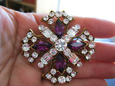 WEISS signed VTG Beautiful Clear and purple rhinestone Cross Brooch