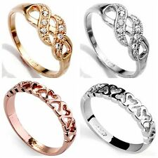 Size 5-9 Rhinestone Silver Rose Gold Plated Heart Wave Ring Wedding Infinity