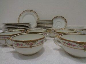 30 piece Theodore Haviland Limoges France Pink floral Gold trim cup,plates etc