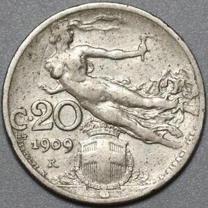 1909 Italy 20 Centesimi VF Flying Woman Coin (21022501R)