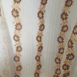 """Lace Panel Curtains Drapes Vintage LOT of Two (2)   58"""" x 80"""" ~ NOS Floral BOHO"""