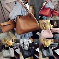 Ladies Womens PU Leather Tote Shoulder Handbag Purse Shopper Clutch Bag
