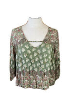 Angie Top Green Floral  Boho Peasant Blouse Size Small Long 3/4 Sleeves
