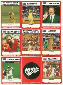 1990/91 Stimorol Cricket Cards lot of Nine Border Boon Healy mostly Near Mint