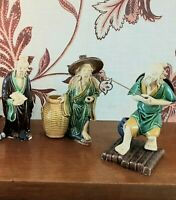 Vintage Handmade Clay Chinese Mudmen Figurines / Wise Man / Collection of 3