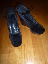 c48f2bd2d23 H M Women s Dress Shoes Size 6M Black Velvet Patent Leather Heel