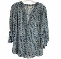 Loft Printed Multi Color V Neck Sheer Long Sleeve Blouse Womens Size Medium M
