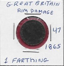 GREAT BRITAIN 1 FARTHING 1865 QUEEN VICTORIA,BRITANIA SEATED RIGHT,DRAPED BUST L