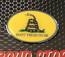 "DONT TREAD ON ME CHROME Emblem Proud Car OVAL Domed sticker 3D 3.25""x 2.25"""