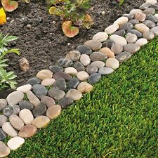Pack of 8 Garden Flower Bed Edging Strip Pebble Stone Borders (paths Driveways)