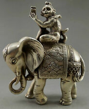 Collectible Decorate Old Tibet Silver Monkey Hold Seal Officer Elephant Statue