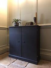 Slim Mahogany Cabinet Storage Cupboard Sideboard Painted In Athenian Black