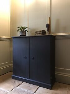 Slim Mahogany Cabinet Storage Cupboard Sideboard Painted In Athenian Black