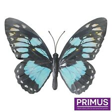 Primus Hand Finished Large Cyan Metal Butterfly Garden Wall Art Ornament