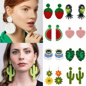 Boho Glass Seed Bead Tassel Stud Earrings Drop Dangle Fashion Women Jewelry Gift