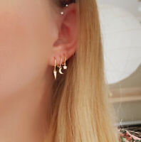 "Ohrringe Mini Hoop ""Spike"" 925 Sterling Silber Gold"