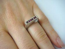 NICE UNUSUAL PRINCESS RUBY AND DIAMONDS BAR-RING 4.9 GRAMS, SIZE 6.5, 14K.