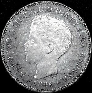 PUERTO RICO 1896 PG-V  ☆ SILVER 40 CENTIMOS  ☆ AU+ ☆ NICELY TONED ☆ RARE ☆