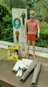 VINTAGE 1961 JAPAN FIRST ISSUE KEN DOLL WITH BRUNETTE FLOCKED HAIR No.750 IN OB
