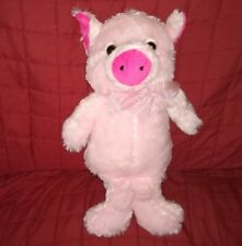 KellyToy PINK PIG Soft Fur 14in Plush Hot Pink Snout Ears Pink Nylon Bow 2014
