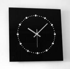 Swarovski Elements Glas Design Funk Wanduhr schwarz silber Wohnzimmer Küche Uhr