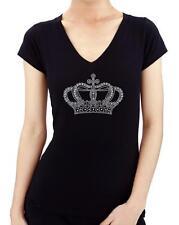 Crown Rhinestone Stud Women Black T shirts Clothing V Neck Princess Cute  Bling