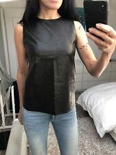 Top haut débardeur noir cuir soie luxe VINCE 4 36 38 S black leather silk blouse