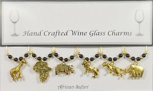 African Safari Gold Set of 6 Wine Glass Charms Handmade Just for You