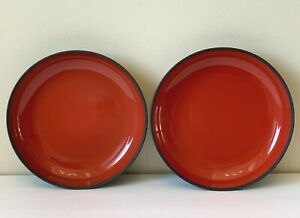 Revol France Ceramic Gloss Finish Pepper Red and Black Matte Underside Bowls