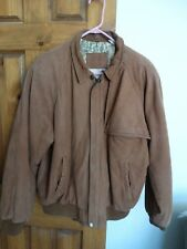 Marlboro men's casual long sleeve zip-front lined leather jacket coat size M tan