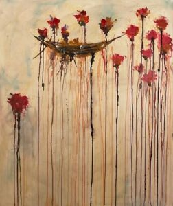 CY TWOMBLY - paint signed on original canvas of 90's -