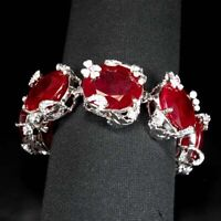 PIGEON BLOOD RED RUBY BRACELET OVAL 340 CT. SAPPHIRE 925 STERLING SILVER WOMAN