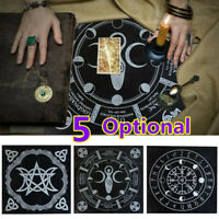 49x49cm Flannel Tarot Tablecloth Triple Moon Pentagram Pagan Altar Tarot Cloth