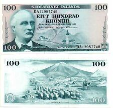 Pick 44a UNC 7 ICELAND 100 Kronur 1961