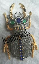 Antique Look 2.70ct Rose Cut Diamond & Sapphire Victorian Unique Insect Broach