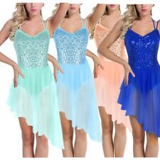 US _ Women Sequined Ballet Lyrical Dance Irregular Chiffon Ballerina Tutu Dress