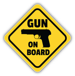 Gun On Board Sign Car Bumper Sticker Decal -  ''SIZES''