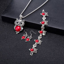 Retro Red Turquoise Owl Pendant Necklace Earrings Bracelet Set