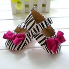 NEW Zebra Velvet Bow Baby Girl Mary Janes Shoes Size 2/3/4 0-12m